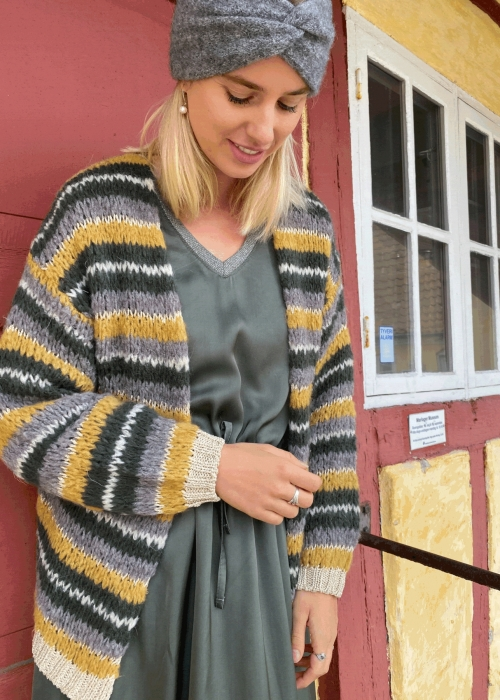 Gail lurex striped cardigan MUSTARD