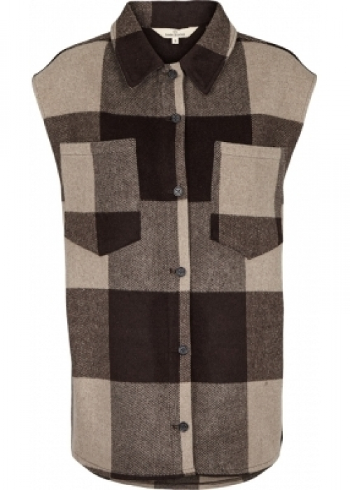 Amina clean up check vest CHOCOLATE