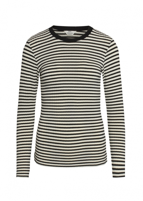 5 x 5 Stripe mix tuba L/S shirt OFF WHITE / BLACK