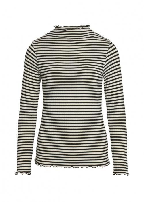 5 x 5 Stripe mix trutte L/S shirt OFF WHITE / BLACK